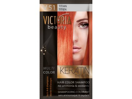 Victoria Beauty Keratin Therapy Tónovací šampon na vlasy V 51, Titian, 4-8 umytí