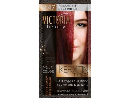 Victoria Beauty Keratin Therapy Tónovací šampon na vlasy V 47, Intensive red, 4-8 umytí