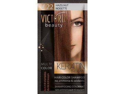 Victoria Beauty Keratin Therapy Tónovací šampon na vlasy V 22, Hazelnut, 4-8 umytí