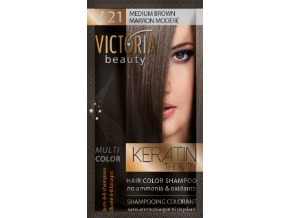 Victoria Beauty Keratin Therapy Tónovací šampon na vlasy V 21, Medium brown, 4-8 umytí