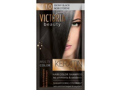 Victoria Beauty Keratin Therapy Tónovací šampon na vlasy V 10, Ebony black, 4-8 umytí