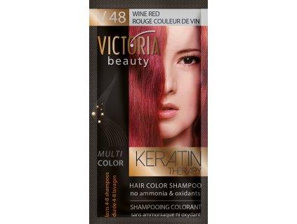 Victoria Beauty Keratin Therapy Tónovací šampon na vlasy V 48, Wine red, 4-8 umytí