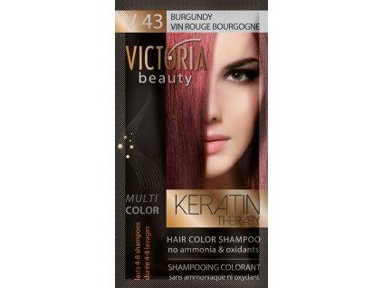 Victoria Beauty Keratin Therapy Tónovací šampon na vlasy V 43, Burgundy, 4-8 umytí