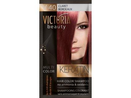 Victoria Beauty Keratin Therapy Tónovací šampon na vlasy V 40, Claret, 4-8 umytí