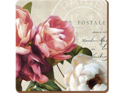 Creative Tops Korkové prostírání pod skleničky Postcard Floral, 10x10 cm, 4 ks