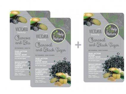 Victoria Beauty Help from nature Pleťová maska s dřevěným uhlím a černým cukrem, AKCE 2+1 ZDARMA, 3 ks