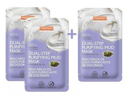 Purederm Dvoufázová čisticí bahenní maska s mořskými řasami a tea tree olejem AKCE 2+1 ZDARMA, 3 ks
