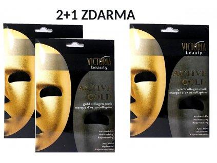 Victoria Beauty Active Gold Aktivní kolagenová zlatá maska, 2+1 zdarma, 3 ks