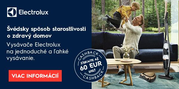 Cashback electrolux na vysávače až do 60 EUR