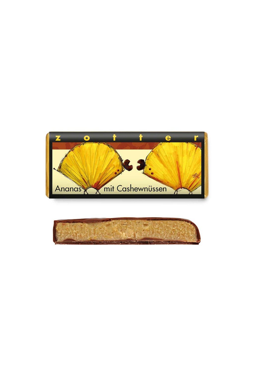 Zotter BIO cokolada Kesu nugat Ananas c1