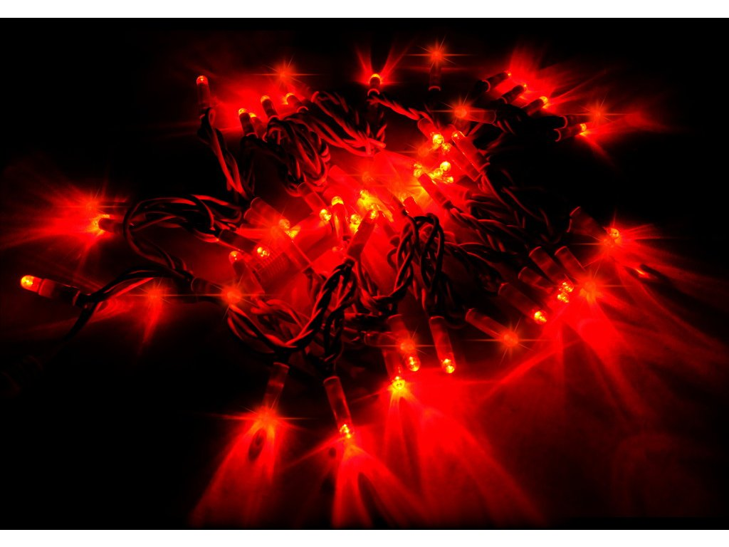 String Lite červená/červený kábel 12m 180LED(3x60) 230V 15W
