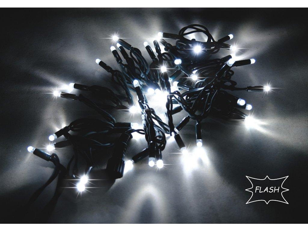 String Lite Flash studená biela/čierny kábel 12m 180LED(3x60) 230V 15W