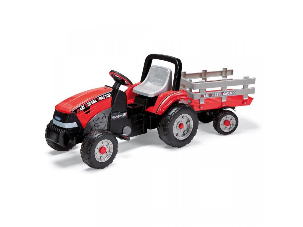 PegPerego Maxi Diesel Tractor s vlečkou červená