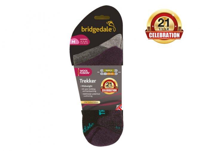 BRIDGEDALE Trekker 21st Year Twinpack Women's - 2 páry- Dámské ponožky