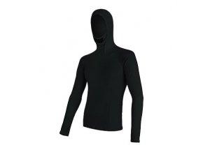 SENSOR MERINO DF pánské triko dl.rukáv s kapucí černá Velikost: S