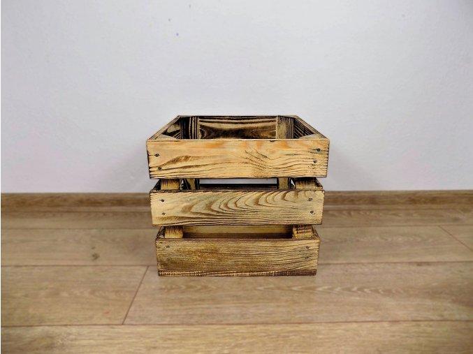 Dřevěná bedýnka Čtvercová 30x30x25 opálená 1