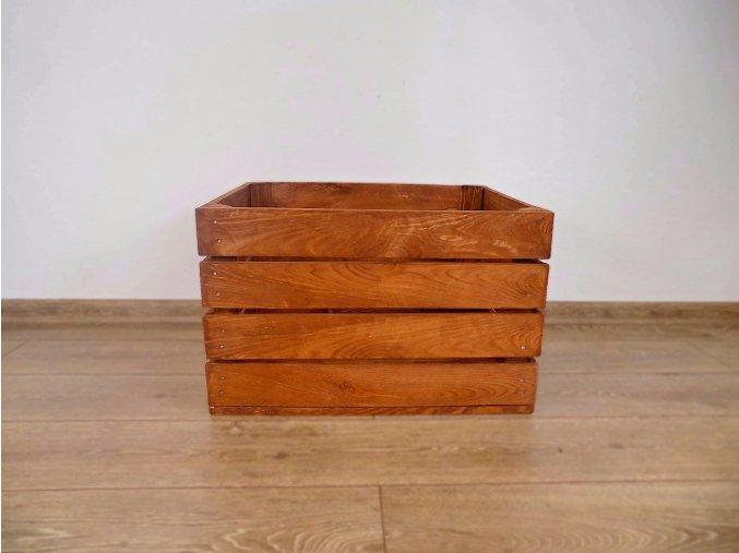 dřevěná bedýnka borovice 50x40x30 cm mořená odstín kaštan tmavý