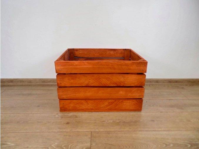 dřevěná bedýnka borovice 50x40x30 cm mořená odstín hněď mahagon