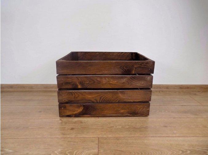 dřevěná bedýnka borovice 50x40x30 cm mořená odstín hněď tmavá 2