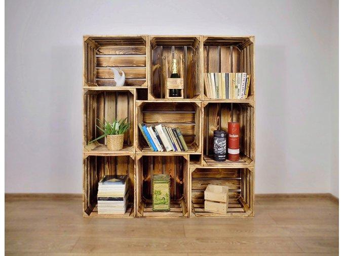 Dřevěná bedýnka knihovna 130x140x30cm