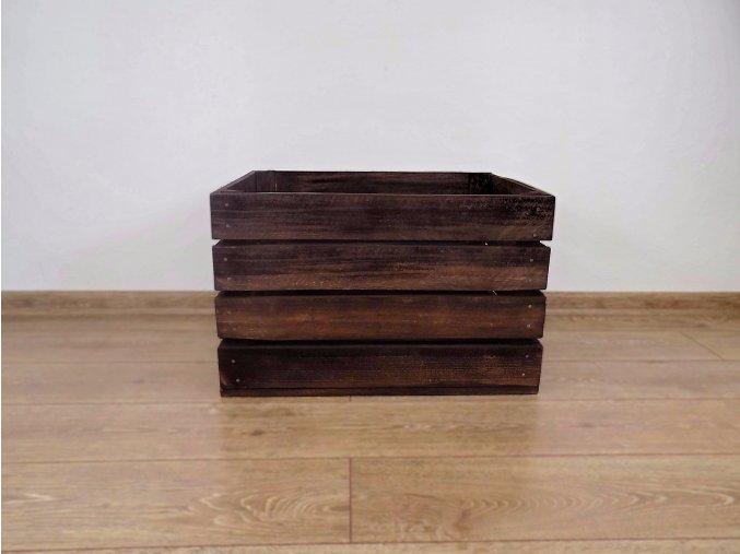 dřevěná bedýnka borovice 50x40x30 cm mořená odstín palisandr