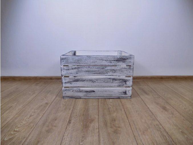 Dřevěná bedýnka 50x40x30 šedo bílá patina 1