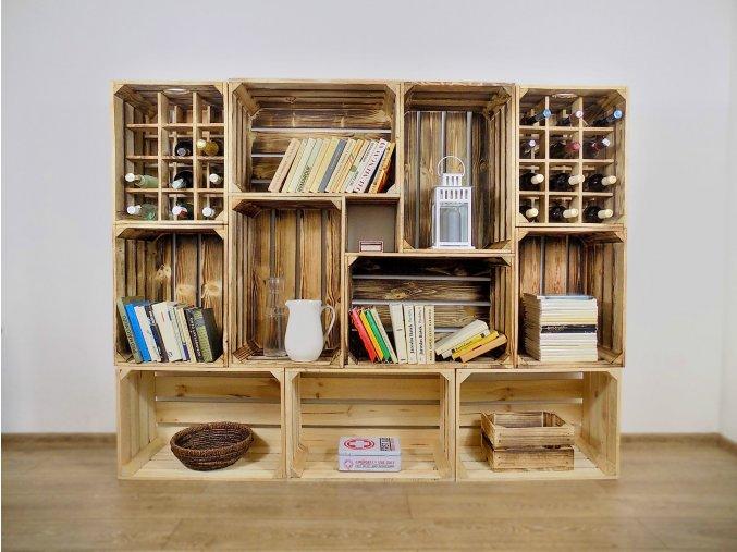Dřevěná bedýnka knihovna s vinotekou 180x140x30cm