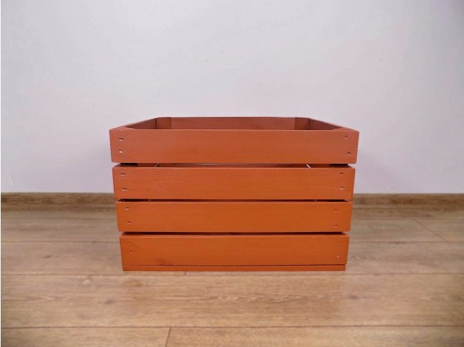 dřevěná bedýnka 50x40x30 cm barva cihlová červená