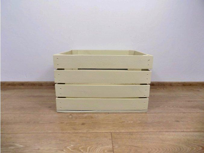 dřevěná bedýnka 50x40x30 cm barva slonová kost
