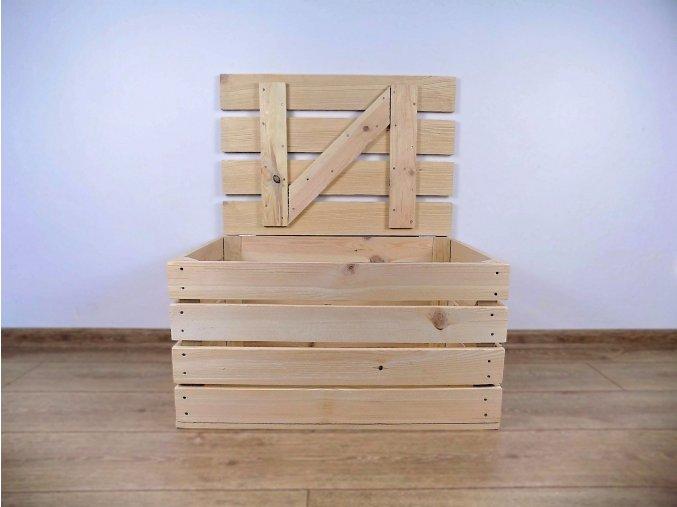 dřevěná bedýnka TRUHLA PŘÍRODNÍ 60x40x30 cm 2