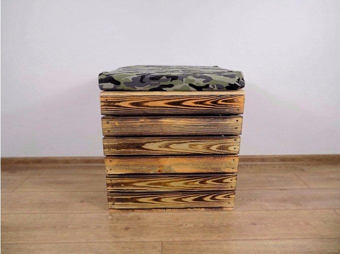 Dřevěná truhla otoman Camo 50x40x45 1