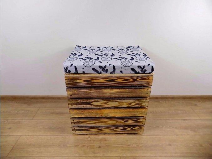 Dřevěná truhla otoman Lapač Snů 50x40x45 1