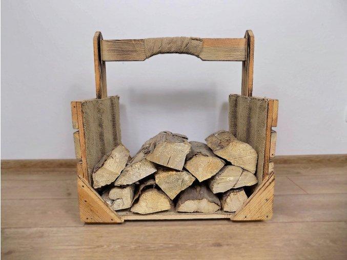 Dřevěná bedýnka nosič dříví opálený 1
