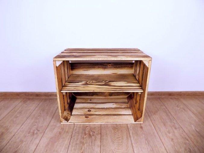 Dřevěná bedýnka POLIČKA 50x40x30 opálená