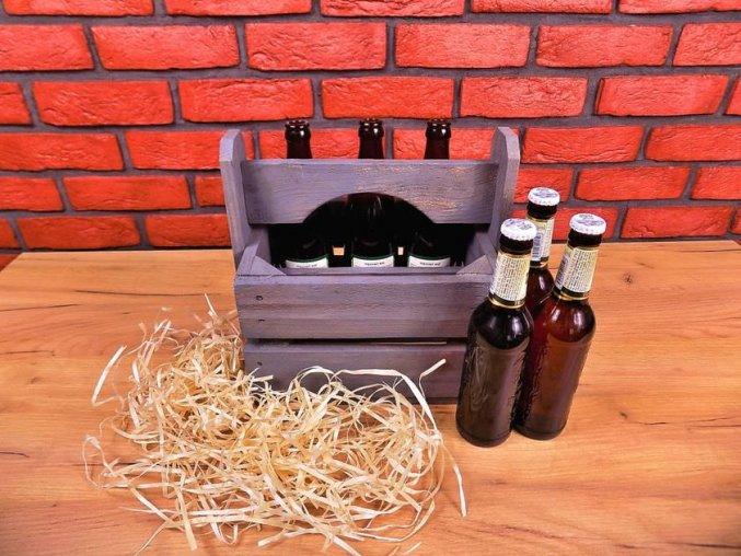 pivní nosič patina schabby chic šedá mini