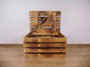 dřevěná bedýnka TRUHLA OPÁLENÁ 60x40x30 cm 2