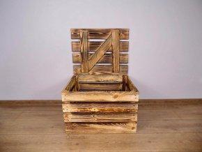dřevěná bedýnka TRUHLA OPÁLENÁ 50x40x30 cm 2