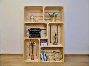 Dřevěná bedýnka knihovna 100x140x30 cm