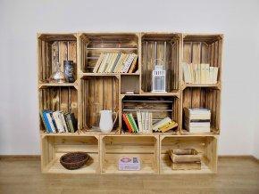 Dřevěná bedýnka KNIHOVNA 180x140x30cm