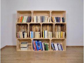 Dřevěná bedýnka knihovna 160x130x30 cm