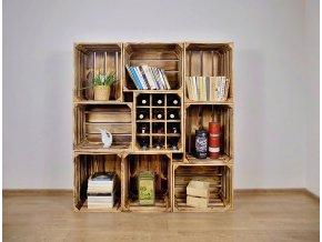 Dřevěná bedýnka knihovna s vinotékou 130x140x30cm