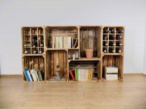 Dřevěná bedýnka knihovna s vinotékou 180X100X30CM