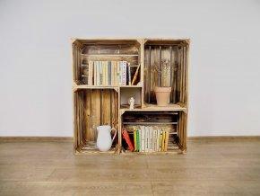 Dřevěná bedýnka knihovna 100X100X30CM