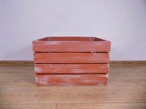 dřevěná bedýnka 50x40x30 cm patinovaná cihlově a bílo