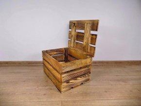 dřevěná bedýnka 40x30x24 cm opálená truhla 2