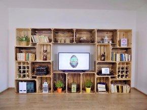 Dřevěná bedýnka TV STĚNA 320x180x30cm S VINOTÉKAMI
