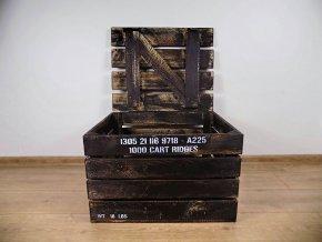dřevěná bedýnka TRUHLA PATINA AMMUNITION ČERNO BÍLÁ 50x40x30 cm 2