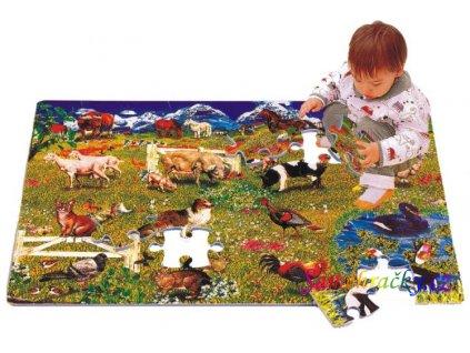 Pěnové puzzle Domácí zvířátka, 60x90x1,2 cm, 54 ks (Varianta Milá rodinka)