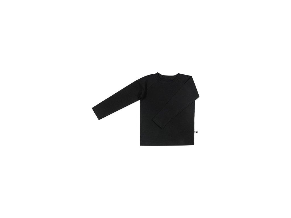 Bavlněné triko s dlouhým rukávem - černé - Samíkov c9251e8321