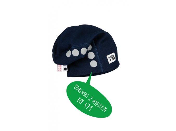 Bavlněná čepice s reflexním potiskem - granátová